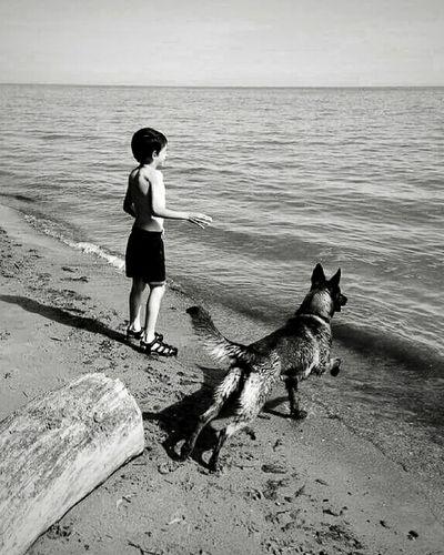 Boyanddog B & W  Son Lifes A Beach Enjoying Nature
