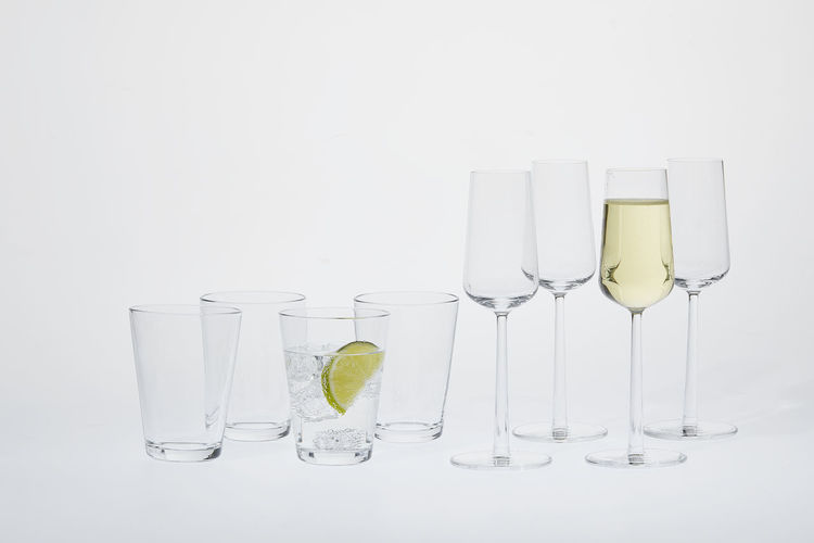 View of wine glass against white background
