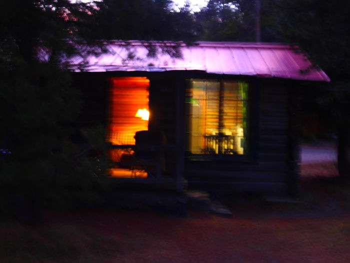 Glitch Great night exterior shot of our weekend retreat cabin, but oops! Rustic Beauty Nightphotography