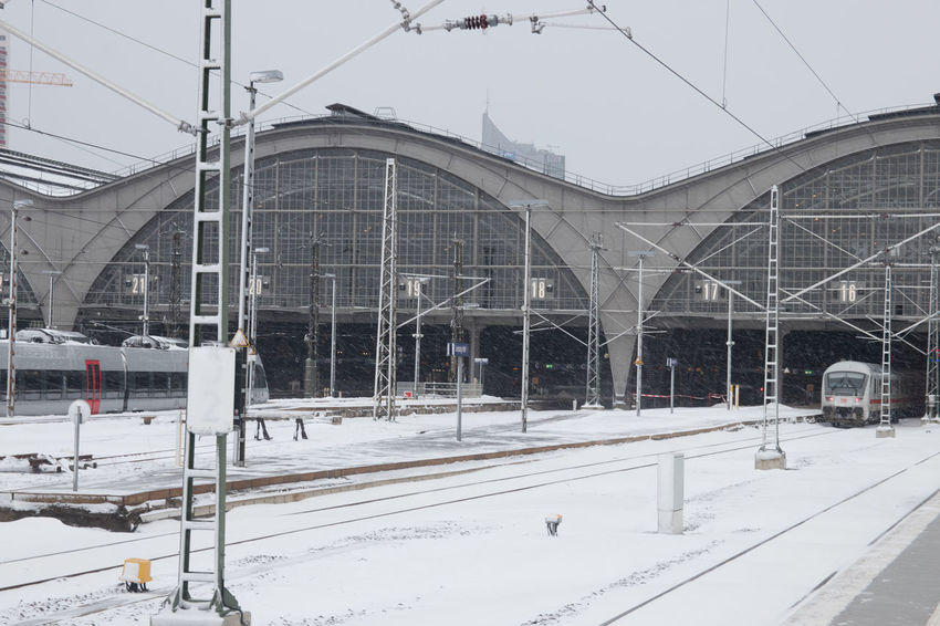 Snow Winter Cold Temperature Built Structure Architecture Building Exterior Rail Transportation Transportation Day Covering Nature Track Railroad Track No People Connection Cable Sky White Color Mode Of Transportation Outdoors Snowing
