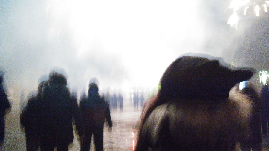 Rear view of silhouette people against sky