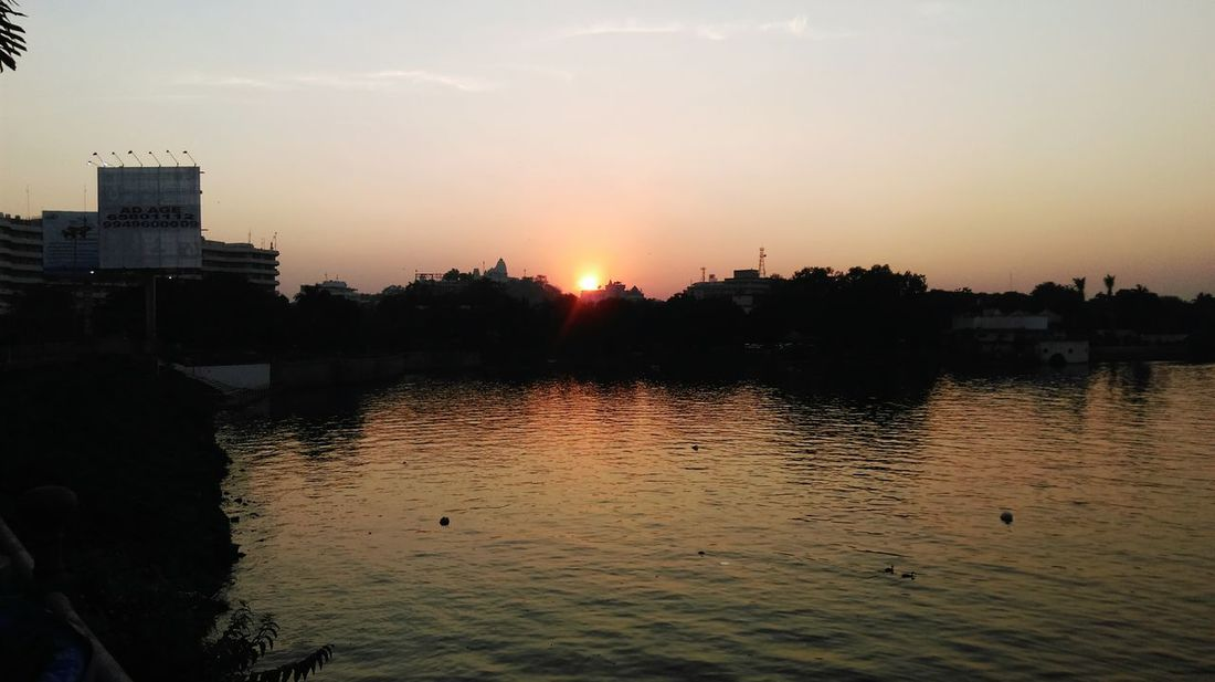 Nature On Your Doorstep .... Captured from Tank bund - Sunset at Birla Temple