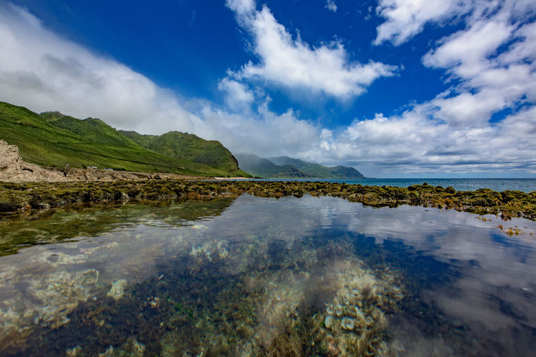 At the end of route 93 the road simply ends. Park here or return where you came from. Hawaii Horizon Over Water Ka'ena Point Landscape Oahu Pool Reflection Tide Pool Water Yokohama Bay