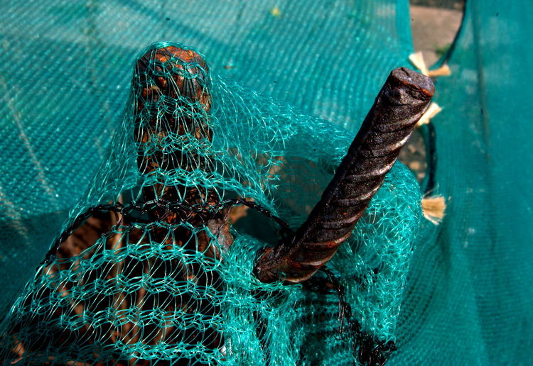 High angle view of fishing net