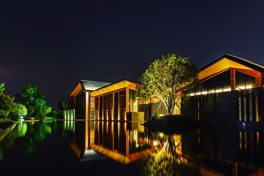 Architecture Night Illuminated Reflection Building Exterior Tree Water No People Outdoors Nikon Cityscape Nikonphotography Jiashan Nightphotography