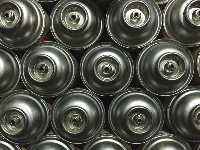Full Frame Shot Of Spray Bottles
