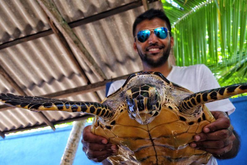 At the Sea Turtle Hatchery in Sri Lanka . Sea Turtles Unawatuna Beach Galle Animal Conservation Koggala Happiness Fun Sunglasses Smiling Travel