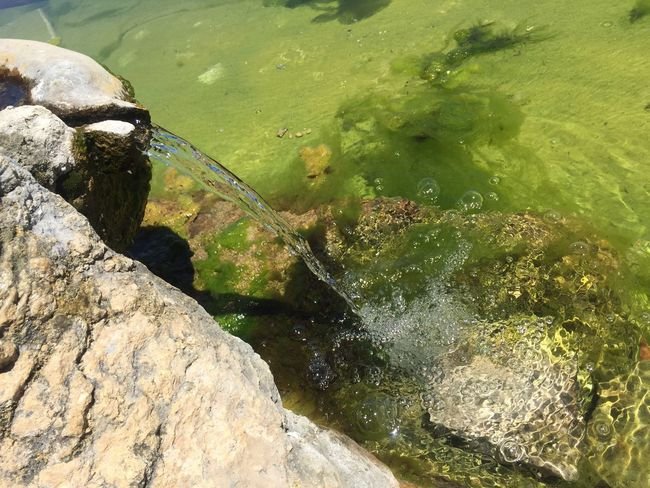 Water Rock Rock - Object Solid High Angle View Nature Day Water Rock Rock - Object Solid High Angle View Nature Day Green Color No People Outdoors Beauty In Nature Sunlight