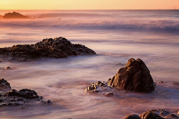 Beach Beauty In Nature Long Exposure Nature Outdoors Rock - Object Sea Sunset