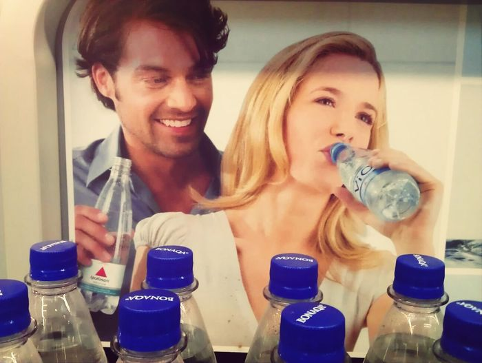German Advertising Men Watching Women Drink Water