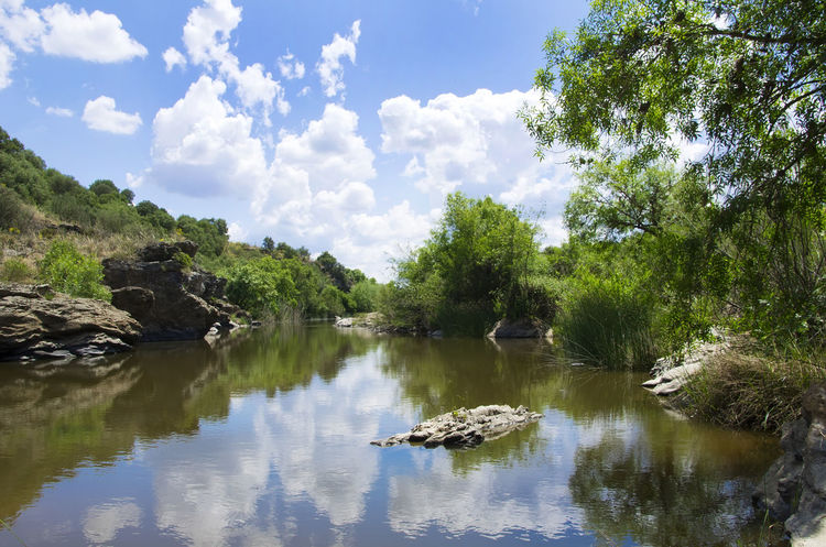 landscape of Degebe river, south of Portugal Beauty In Nature Cloud - Sky Lake Nature Plant Reflection Scenics - Nature Sky Tranquil Scene Tranquility Tree Water Waterfront