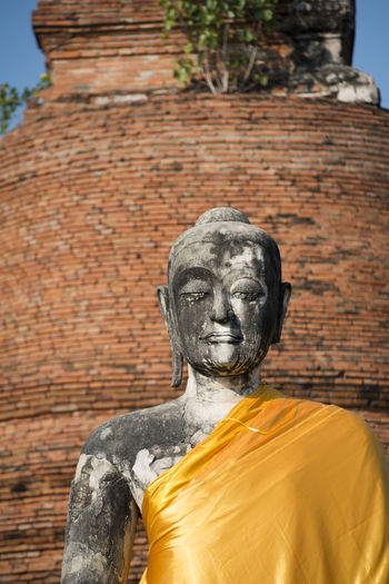 Low angle view of buddha statue and temple