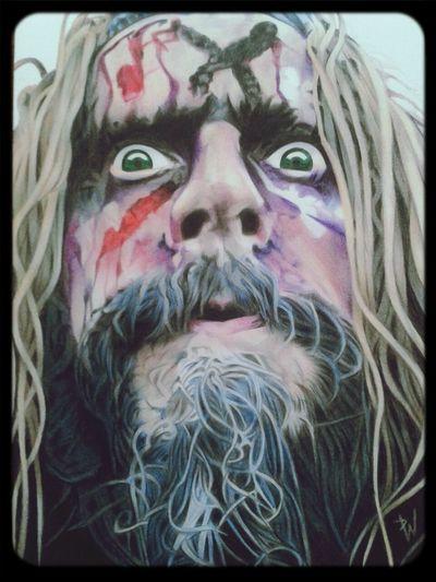 Check This Out Art Portrait Drawing colour pencil portrait of Rob Zombie