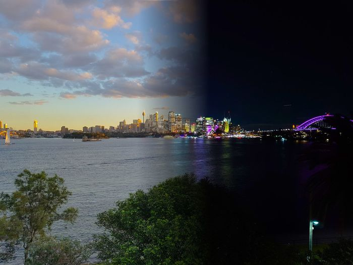 City by day, pretty by night Day And Night Sydney Sydney Harbour  VIVID Sydney City Cities At Night Night Nightphotography Contrast Colourful