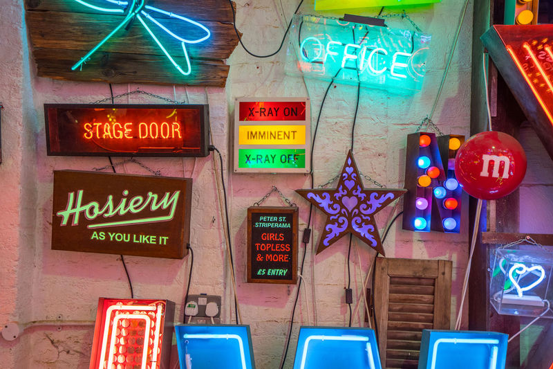 Neon signs and decorations at God's Own Junkyard in Walthamstow, London. Bright Colors Colourful Neon Signs Office City Lighting Hosiery  Neon Neon Lights Urban Urban Lighting