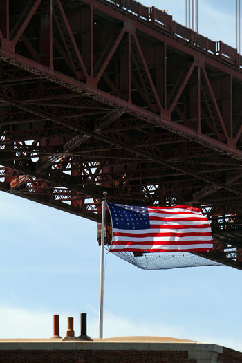 Low angle view of flags on bridge