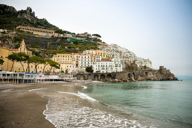 Italy Amalfi  Amalfi Coast Architecture Water Building Exterior Built Structure Sea Building Sky Land Nature Beach Travel Destinations Day City Clear Sky History The Past Tourism No People Travel Outdoors