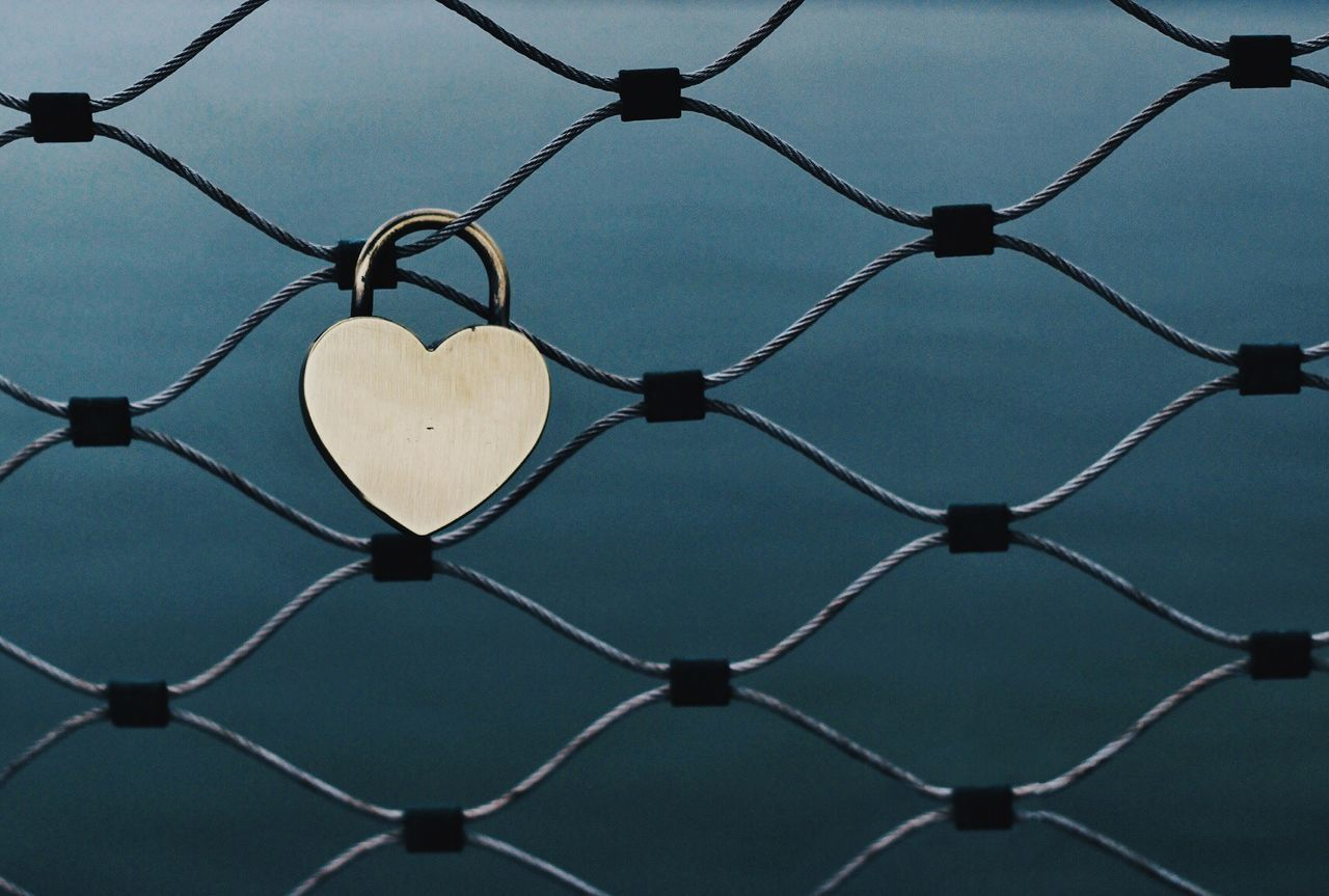 Love Padlock On Chainlink Fence