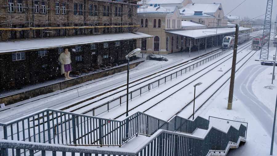 James Vilnius, Lithuania Architecture Building Exterior Built Structure Cold Temperature Gandolfini High Angle View Outdoors Rail Transportation Railing Railwaystation Snow Snowing Statue In The City Track Transportation Winter Yard