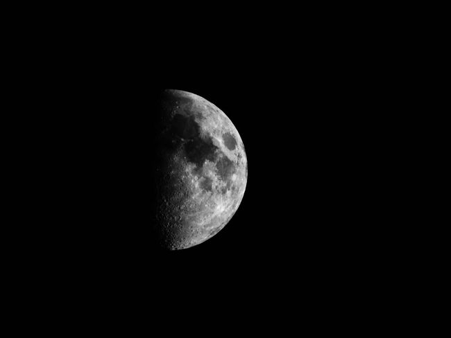 EyeEm Selects Moon Astronomy Night Moon Surface Planetary Moon Beauty In Nature Half Moon Nature Scenics Idyllic Dark Space Exploration Discovery Tranquil Scene Tranquility Crescent Low Angle View Space Outdoors Moonlight
