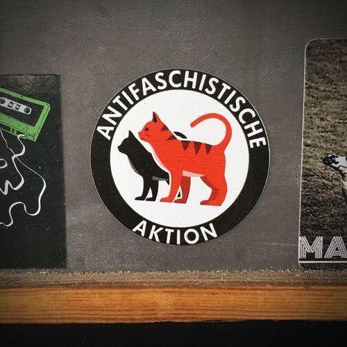 Antifaschistische Kätzchen Antifaschistische Aktion Antifa Friedrichshain Berlin Sticker Antifa Communication Western Script Text Sign No People Close-up Representation Information Sign Message