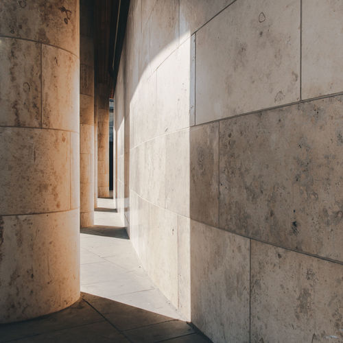 Columns by wall