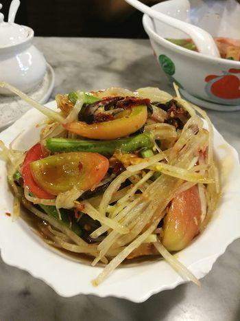 Food And Drink Food Vegetable Foodphotography Foodporn Food And Drink Thai Food Yummy Food Somtum Thai Somtum Pu-plarha Somtum Somtumthai Papayasalad Spicyfood Tomatoes Papaya Smallcrab เย็นตาโฟเครื่องทรง