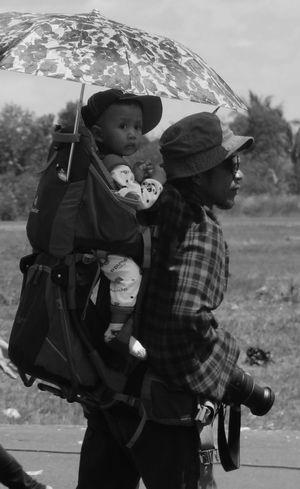 Photograper Bringing his ChildMonochrome Photography