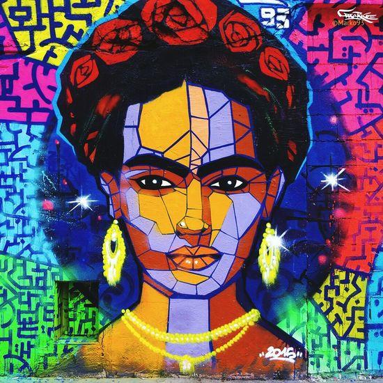 Frida Kahlo, graffiti by marko93 Streetart Streetphotography Streetphoto_color Street Portrait Street Art/Graffiti Wall Sreet Marko93 Art, Drawing, Creativity