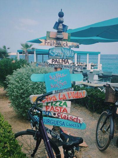 Text Bicycle Road Sign Sign Crossing Palma De Mallorca Beach Restaurant Decor Beach Life Sunny Western Script Pizza Breakfast