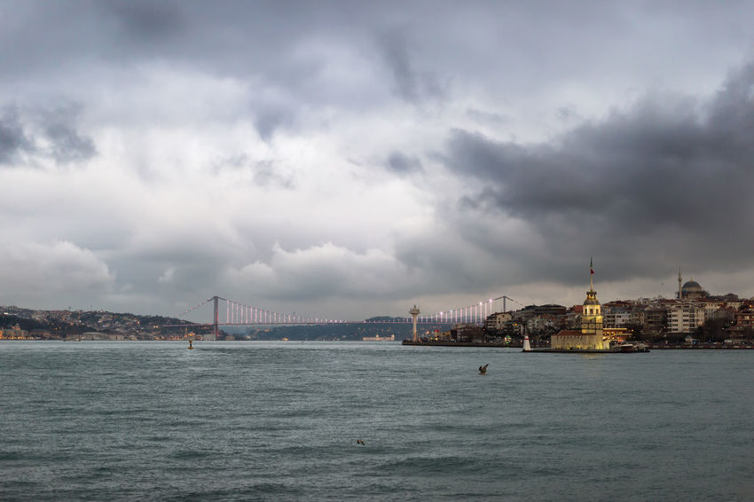 The Maiden Tower & The Bosphorus Bridge & a storm in making Bosphorus Bridge City Center Cityscape Historical Building Istanbul Maiden Tower Storm Architecture Bosphorus City City Lights Cityscape Cloud - Sky Clouds And Sky Kız Kulesi Nature Sea Seascape Seaside Storm Cloud Storm Coming Strait Tourism Travel Destinations Waterfront