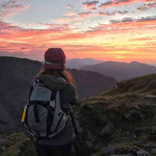Sunrise over the summit of Snowdon ❤️⛰ Snowdonia National Park Snowdonia Snowdon Beautiful Sky Cloud - Sky Sky Sky And Clouds Sunset Beautiful Nature Nature_collection Mountain Range Hiking Mountain Sunset Leisure Activity Rear View Beauty In Nature Scenics - Nature Sky One Person Adventure Cloud - Sky Nature Hiking Mountain Range Activity Tranquil Scene Real People