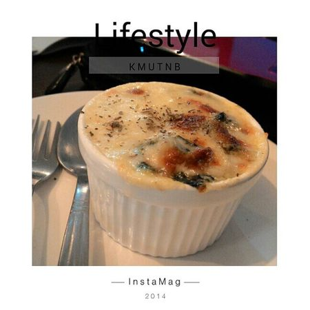 BAKED SPINACH WITH CHEESE at Rocket Coffee in KMUTNB Coffeeshop Spinach Cheese KMUTNB Lifestyle Zenfone6 Student Happy Metal That's Me