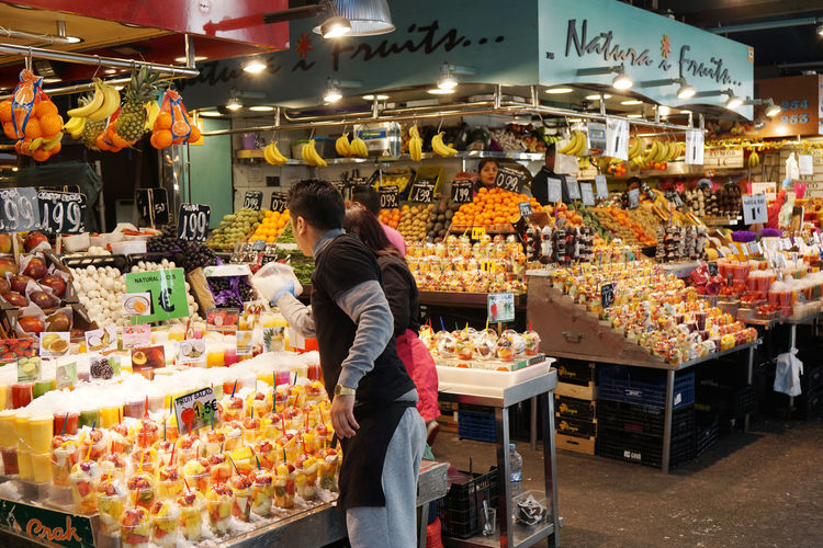 La Boqueria market Abundance Barcelona Choice Display Food Food And Drink For Sale Fresh Freshness Fruit Healthy Eating Juice La Boqueria Market Market Stall Real People Retail  SPAIN Travel