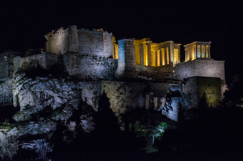 Acropolis dark night Architecture Night History The Past Built Structure Building Exterior Illuminated Travel Destinations No People Old Old Ruin Ancient Building Castle Travel Nature Sky Tourism Fort Low Angle View Ruined Ancient Civilization