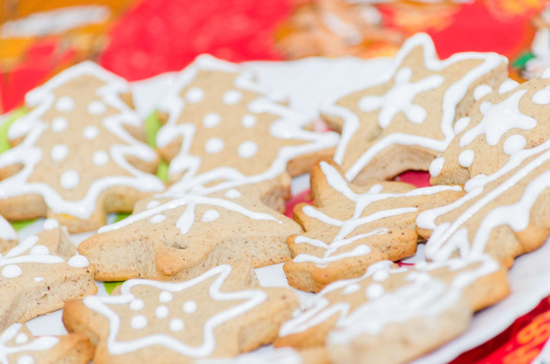Close-up of gingerbread cookies on table during christmas
