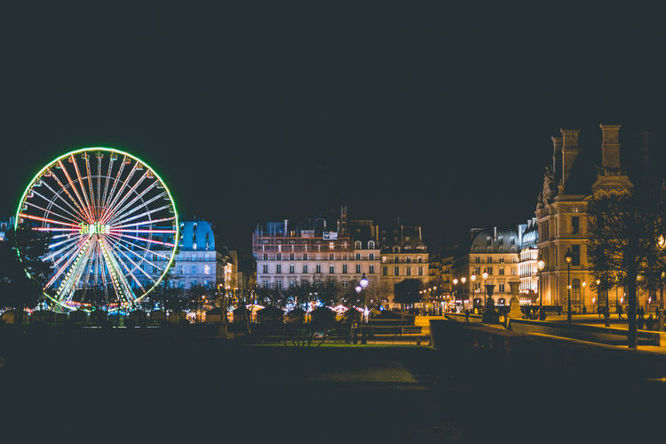 Paris at night! Ferris Wheel Nightphotography Lights Building Exterior Building Travel Destinations Tourism Glowing Amazing View Architecture Historical Building