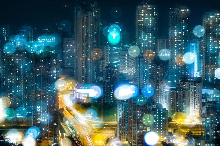 City Cityscape Illuminated City Life City Street Downtown District Traffic Close-up