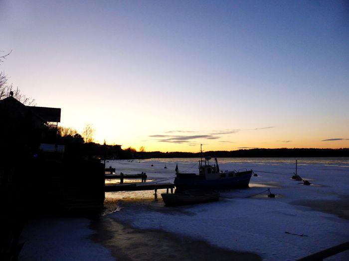 Mälarhöjden Stockholm Sweden Lake Sunset Boat Ice Winter