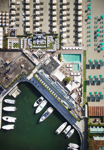 Aerial view of a small port for the storage of pleasure boats Harbor Boat Top View Small View Summer Water Vacation Sea Europe Mediterranean  Architecture Landscape Tourism Coast Italy Dock Marina Tuscany Versilia  City Transportation Aerial View Travel Destinations