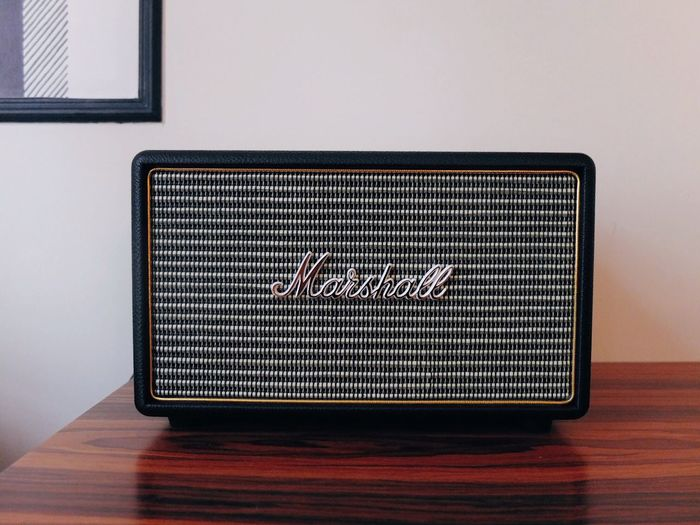 Marshall. Sound Music Speaker Marshall Pattern Indoors  Wall - Building Feature Architecture No People Built Structure Table