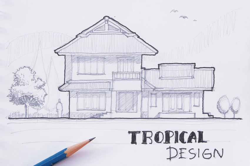 my artwork sketch drawing tropical house design Architecture ArtWork Black And White Design Draw Drawing Elevation Home House My Artwork Paper Pencil Sketch Sketch Book Thai Tree Tropical Tropical Design Tropical House