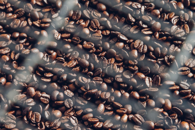 Full frame shot of roasted coffee bean