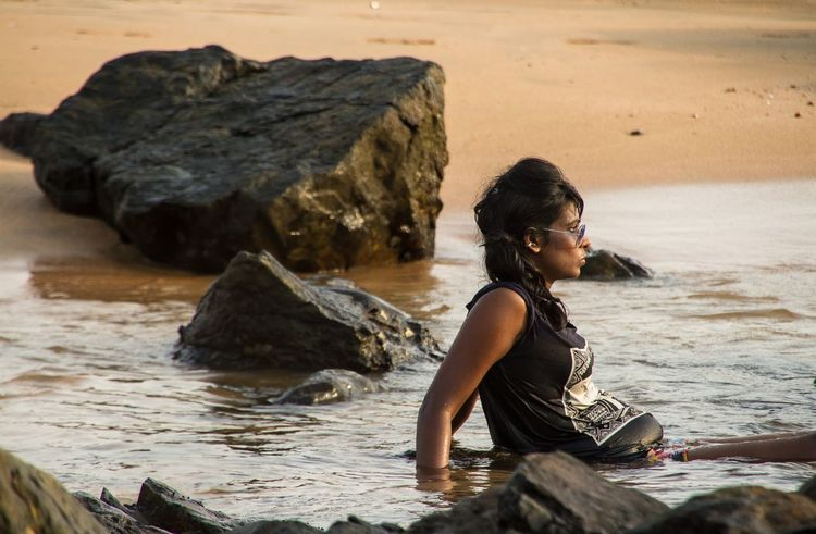 Girl On The Shore Indian Girl Chilling India Beach Relax Sunset