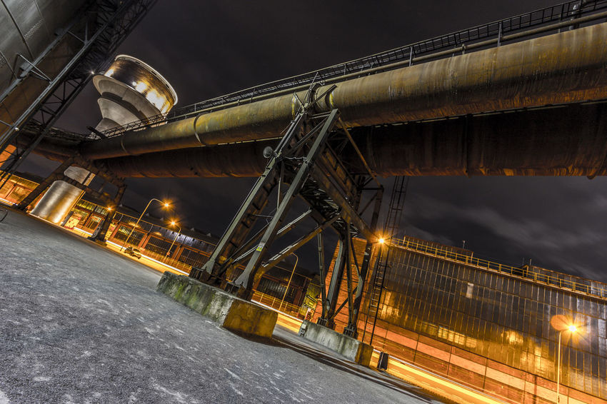Architecture Bridge - Man Made Structure Built Structure Cloud - Sky Coalmine Connection Dolni Oblast Vitkovice Futuristic Illuminated Industry In City Industry Vs Nature Long Exposure Low Angle View Night Night Sky No People Outdoors Sky Steel Factory Transportation Vitokovice