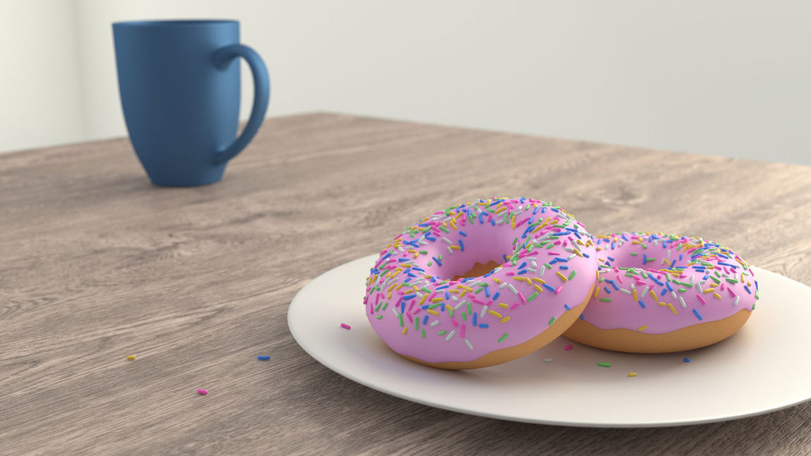 Two Donuts on a Plate on Wooden Table with Coffee Cup Bright Coffee Donuts Morning Wood Baked Close-up Coffee Cup Doughnuts Food Food And Drink Multi Colored Sprinkles Still Life Sweet Food Table Temptation Wooden