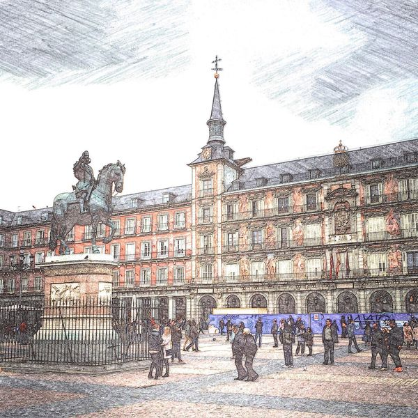 Architecture Travel Destinations Town Square Building Exterior Tourism History City Outdoors Built Structure Cityscape Day Statue People Sky Adult SPAIN Madrid Plazamayor Citytrip