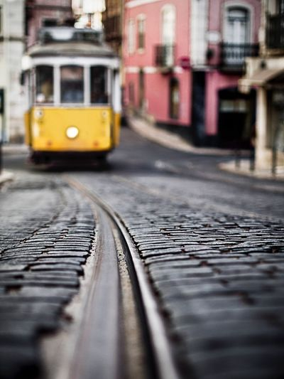 On The Way Tramway Lisbon Lisboa Portugal Colors Railway Railroad Pavement Blur Fine Art Photography EyeEm Best Shots Showcase July Colour Of Life Eyeemphoto TakeoverContrast Maximum Closeness My Year My View The City Light