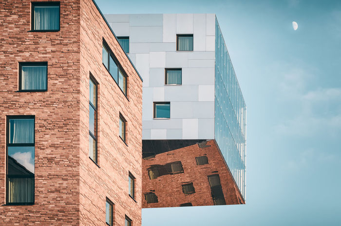 Modern Architecture | Berlin, Germany 2016 Architecture Berlin Berlin Buildings Blue Building Exterior Built Structure City City Life Cloud - Sky Copy Space Day Façade Germany Low Angle View Modern Architecture Moon Moon In The Sky No People Nobody Office Building Reflection Repetition Sky Sunny Window The Graphic City