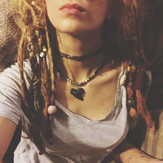 Necklace One Person Midsection Front View Real People Dreadlocks Dreadlock Girl Blonde Dyed Hair Fashion Indoors  Close-up Young Adult Women Day Young Women Adult People